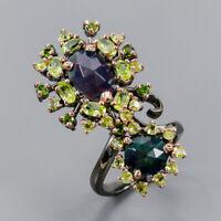 Black Opal Ring Silver 925 Sterling Jewelry fine art set Size 8.75 /R142144