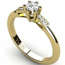 Solitaire with Accents Yellow Gold VS1 Fine Diamond Rings