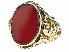 Art Deco Herren Damen 585 Gelb Gold Karneol Wappen Siegel Ring antik