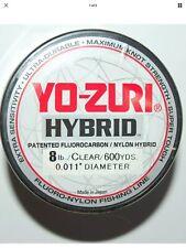 YO-ZURI HYBRID Fluorocarbon 8Lb Line 2-600 Yard Rolls CLEAR NEW!