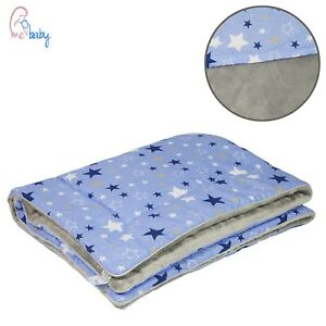 New Boys Blue & Grey Blanket Set 75x100 Filled Warm Blanket with Stars + Pillow