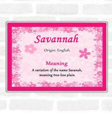 Savannah nom signifiant jumbo aimant de réfrigérateur rose