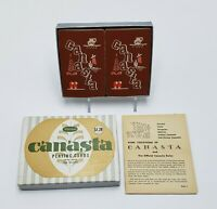 Whitman Canasta 2 Decks Playing Cards & Rules Rust, Red & White Design Nice Box