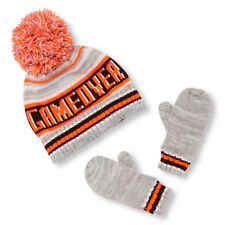 Toddler Boys 'Game Over' Striped Pom Pom Beanie And Mittens Set