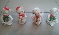 4 Vintage Christmas Angels Figurines Babies Children Spaghetti Japan