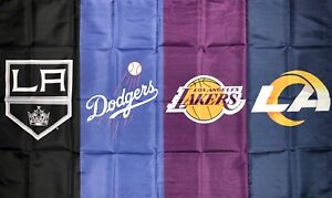 Los Angeles Lakers Dodgers Rams Kings Flag 3x5 ft Sports Banner Man-Cave