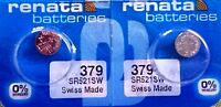 379 RENATA WATCH BATTERIES SR521SW (2piece) New packaging Authorized Seller