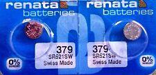 379 RENATA WATCH BATTERIES SR521SW (2piece) New packaging Authorized Seller