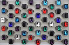 34pcs Men's Cool Charm Jewelry Colorful Fashion Big Glass Rings Wholesale AH1063