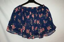 Girls Abercombie blue chiffon floral mini skirt Size M