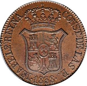 1838 CATALONIA SPAIN ISABEL II COPPER 6 QUARTOS PCGS MS-63 BROWN