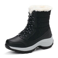 Women's Snow Boots Lady Platform Fur Lined Waterproof Lace Up Shoes Winter Warm