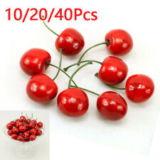 Artificial Plastic Cherry Fruit Fake Display For Kitchen Home Foods Decor Red