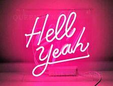 "13"" Hell Yeah Neon Sign Light Beer Bar Pub Lamp Glass Decor"