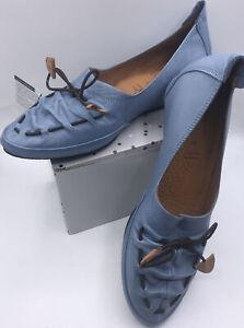 Spring Step Badriya Blue Leather Women 8.5 Loafer Comfort Slip On Moccasin
