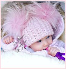 CAPPELLINO ROSA DOPPIO PON PON PELLICCIA BIMBA HAT FUR BABY 1-4 ANNI PINK LUXURY