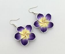 Hawaii paradise beach Summer earrings hibiscus flower flowers purple yellow drop
