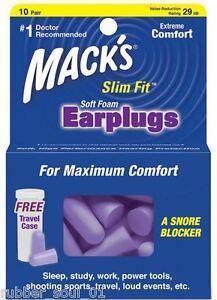 Mack's (Macks) SafeSound Slim Fit Soft Foam Earplugs x 10 Pair (FREE UK P&P)