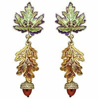 Ritzy Couture Autumn Leaves & Acorn Fall Foliage Drop Post Earrings (Goldtone)