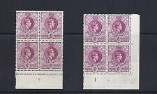 SWAZILAND 1938-54 KGVI (SG 34a 34c different shades) VF MNH blocks of 4