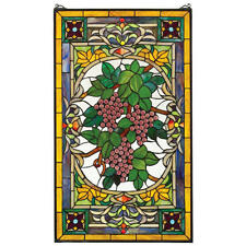 """34"""" Cabochon Grapes Tuscan Style Hand Crafted Stained Glass Window Panel"""