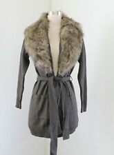 Banana Republic Brown Gray Faux Fur Sweater Tie Front Cardigan Sweater Size XS