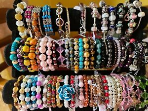 JOB LOT  65  FASHION BRACELETS-BANGLES-RHINESTONE-SNAKE CHAIN ETC