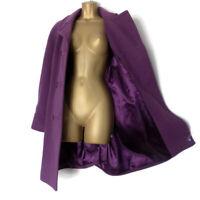 JACQUES VERT Cashmere Wool Pea Coat Size 16 Purple Long Overcoat Ladies EU 42 d