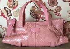 TOD'S Rose-Vieux Snakeskin Handbag
