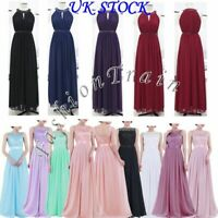 Women's Empire Waist Embroidered Chiffon Wedding Bridesmaid Dress Prom Gown