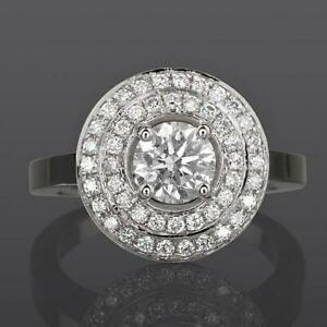 18 KT WHITE GOLD DOUBLE HALO DIAMOND RING 2.14 CARATS 4 PRONG SOLITAIRE ACCENTED