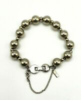 Vintage Monet Silver Tone Two Tone Metal Bead Bracelet Signed