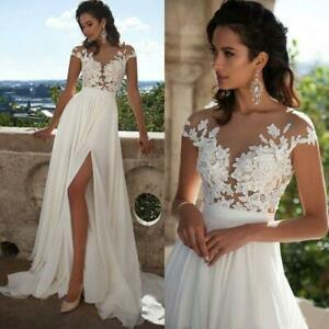 Womens White Ivory Lace Wedding Dress Beach Bridal Gown A-line Wedding Gown New