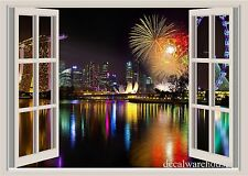 Singapore Lights Window View Repositionable Color Wall Sticker Wall Mural 3ft