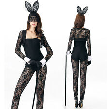 Bunny Rabbit Costume Outfit Hen Party Cosplay Womens Lace Bodysuit Halloween S/M