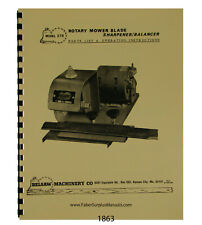 Foley Belsaw  Mower Blade Sharpener Balancer Op & Parts Manual #1863