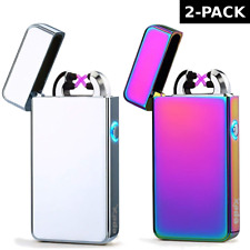 2 PACK USB Electric Dual Arc Flameless Rechargeable Windproof Chrome Lighter