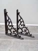 2 Antique Style Shelf Brace Wall Bracket Cast Iron Brackets Vine Garden Corbels