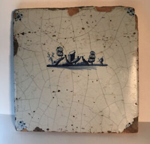 Antique Blue $ White Dutch Delft Tile houses/ships/hand painted Mid 18th century