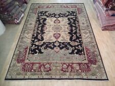 Black Rug 10 x 14 Agra Unusual Design Indian New Genuine Hand-knotted Rug