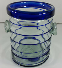 Hand Blown Glass Cobalt Spiral Crock Wine Cooler Utensil Holder Ice Bucket