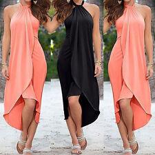 Damen Sommer Maxikleid BOHO Neckholder Bandeau Kleider Cocktailkleid Strandkleid