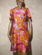CHIC VINTAGE ROBE 1970 TRUE VTG DRESS 70s MOD PSYCHEDELIC KLEID  VESTIDO ( 42 )