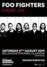Foo Fighters 2019 European Tour Glasgow Scotland Promo Poster