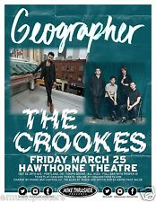 GEOGRAPHER/CROOKES 2016 PORTLAND CONCERT TOUR POSTER-Indie/Electronic Rock Music