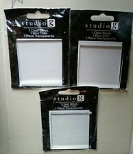 "3 Studio G Clear Block for Mounting Clear Stamps Hampton Art 2 1/2""x2 1/2""x1/2"""