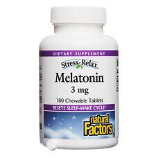 Natural Factors Stress-Relax Melatonin 3mg, 180 Chewable Tablets
