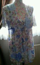 LADIES VINTAGE MINI FLORAL NIGHT DRESS & ROBE BY VAN RAALTE 70s SIZE 14