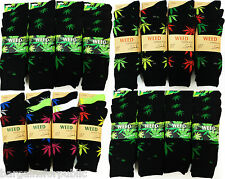 12 Pairs Mens Designer PLANT LIFE Weed Leaf Cotton Rich Socks Adults Size 6-11