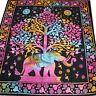couvre-lit couverture coton tissu déco 210x230 Batik Éléphant ARBRE RAINBOW 1